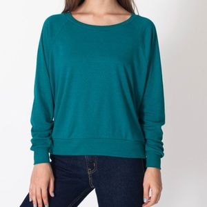 American apparel turquoise triblend pullover sz S